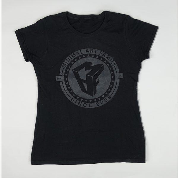 női fekete polo 2009 minimal art family polo design trendi woman tshirt